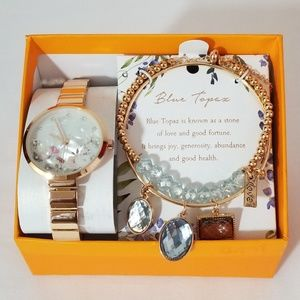 New Gold Tone Bracelet Watch Set Blue Topaz